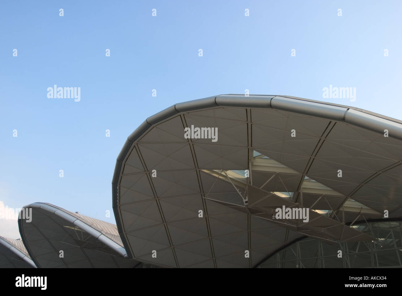 Exterior Roofline of Hong Kong International Airport Chek Lap Kok HKG - Stock Image