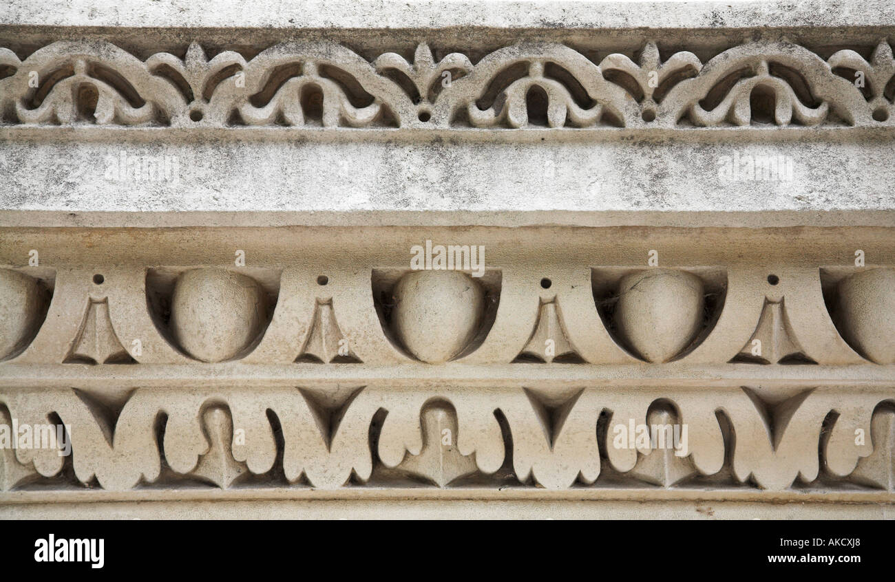 Egg and dart sculptural decoration on facade of Chiswick House London - Stock Image