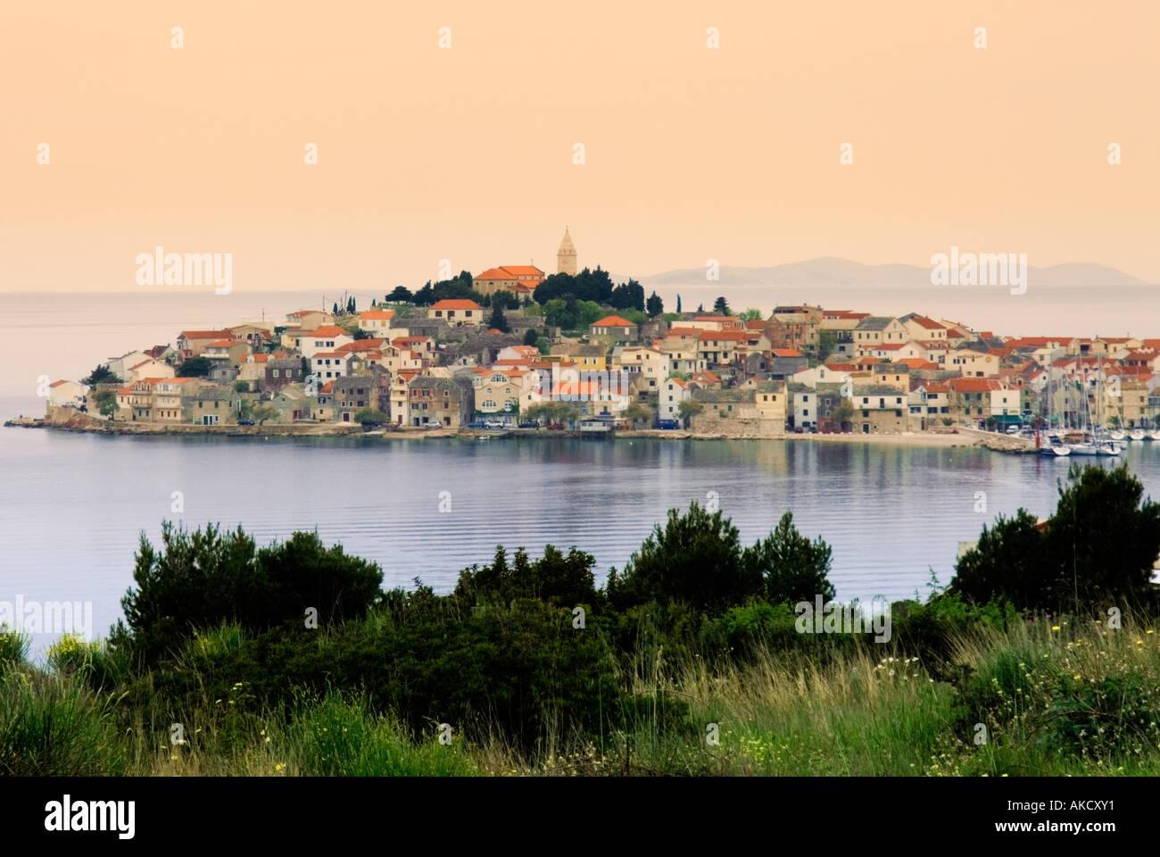 South-East Europe, Croatia, Dalmatia, Primosten town, view from headland Stock Photo