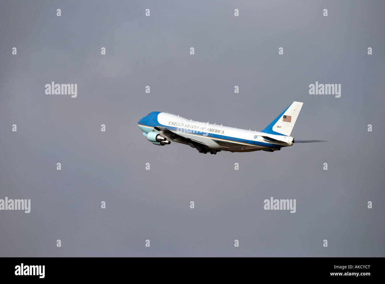 US air force one taking off from Fiumicino Airport in Rome - Stock Image