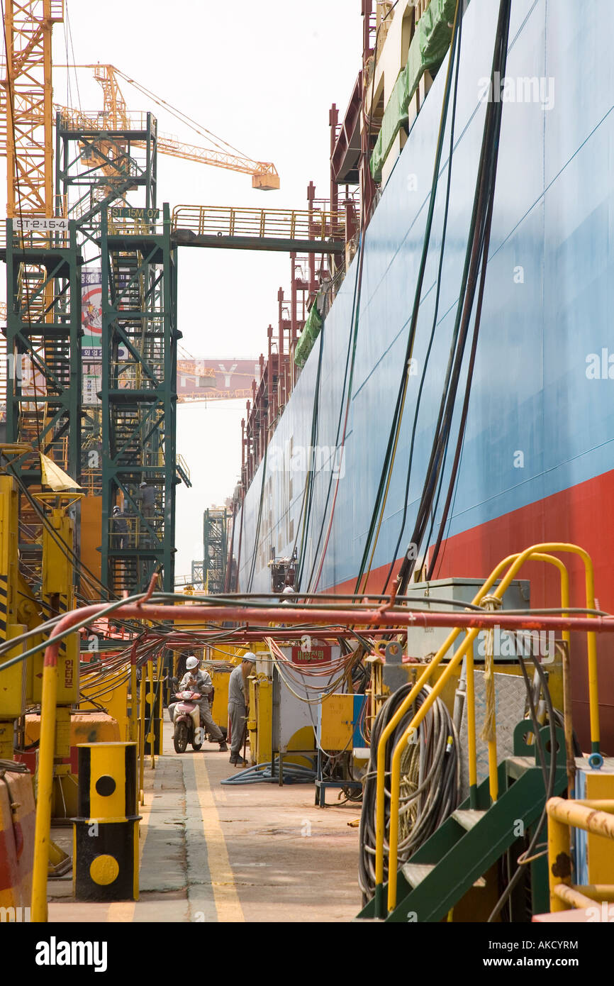 A Maersk container ship under construction at the world's