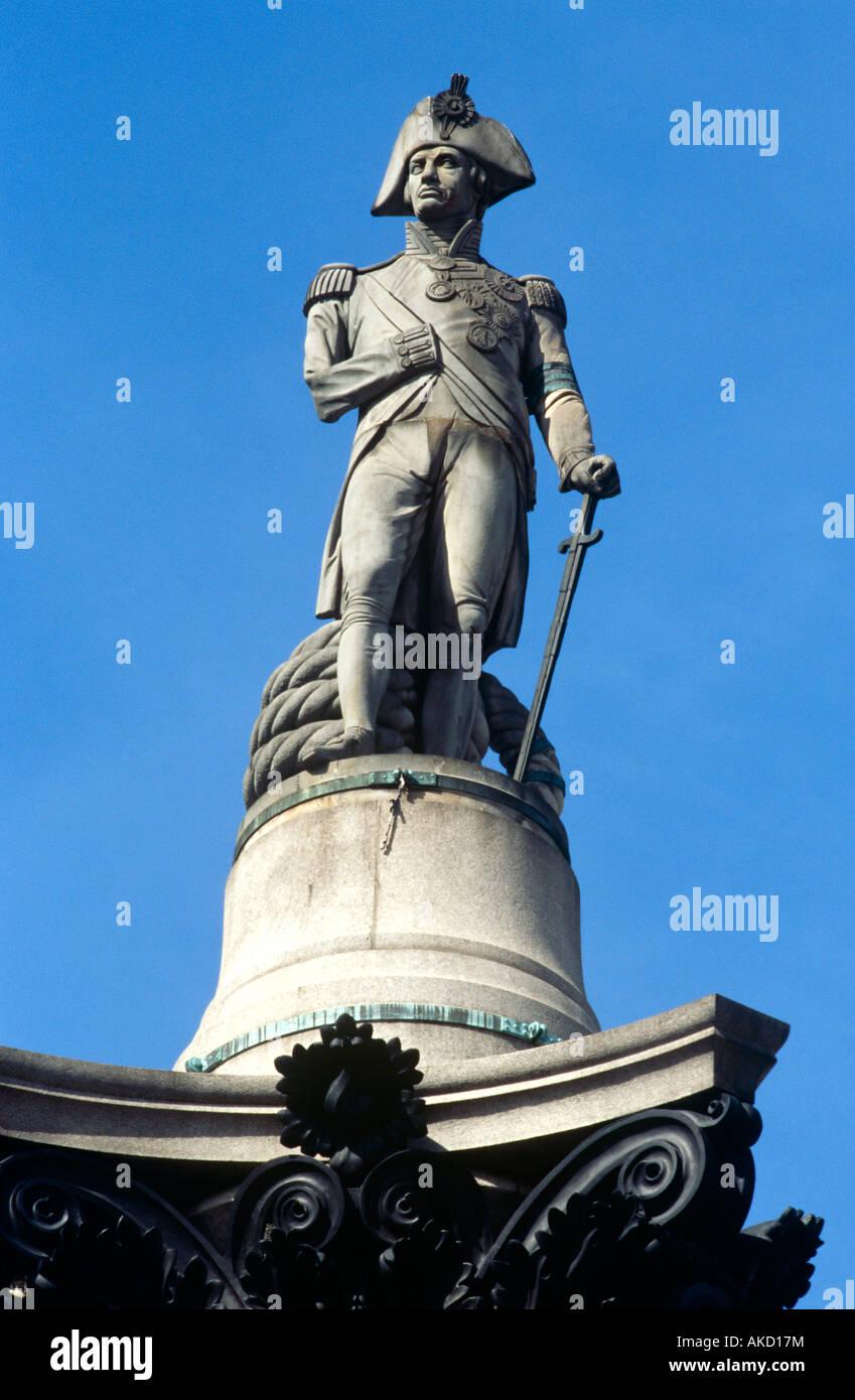 Nelsons Column, Trafalgar Square, London, United Kingdom - Stock Image