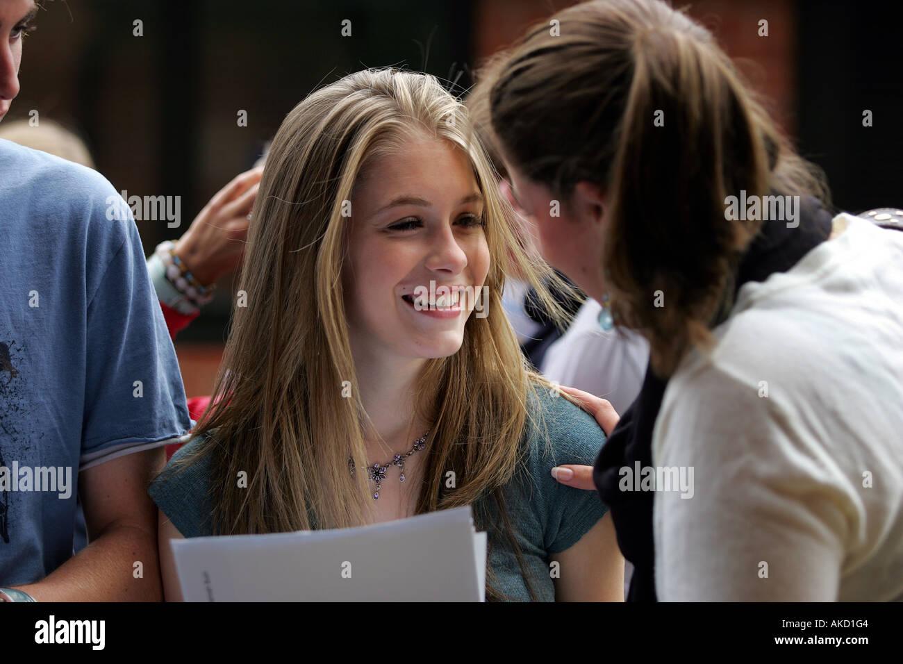 Pupils at Colyton Grammar School in Devon UK receive their A level results Stock Photo