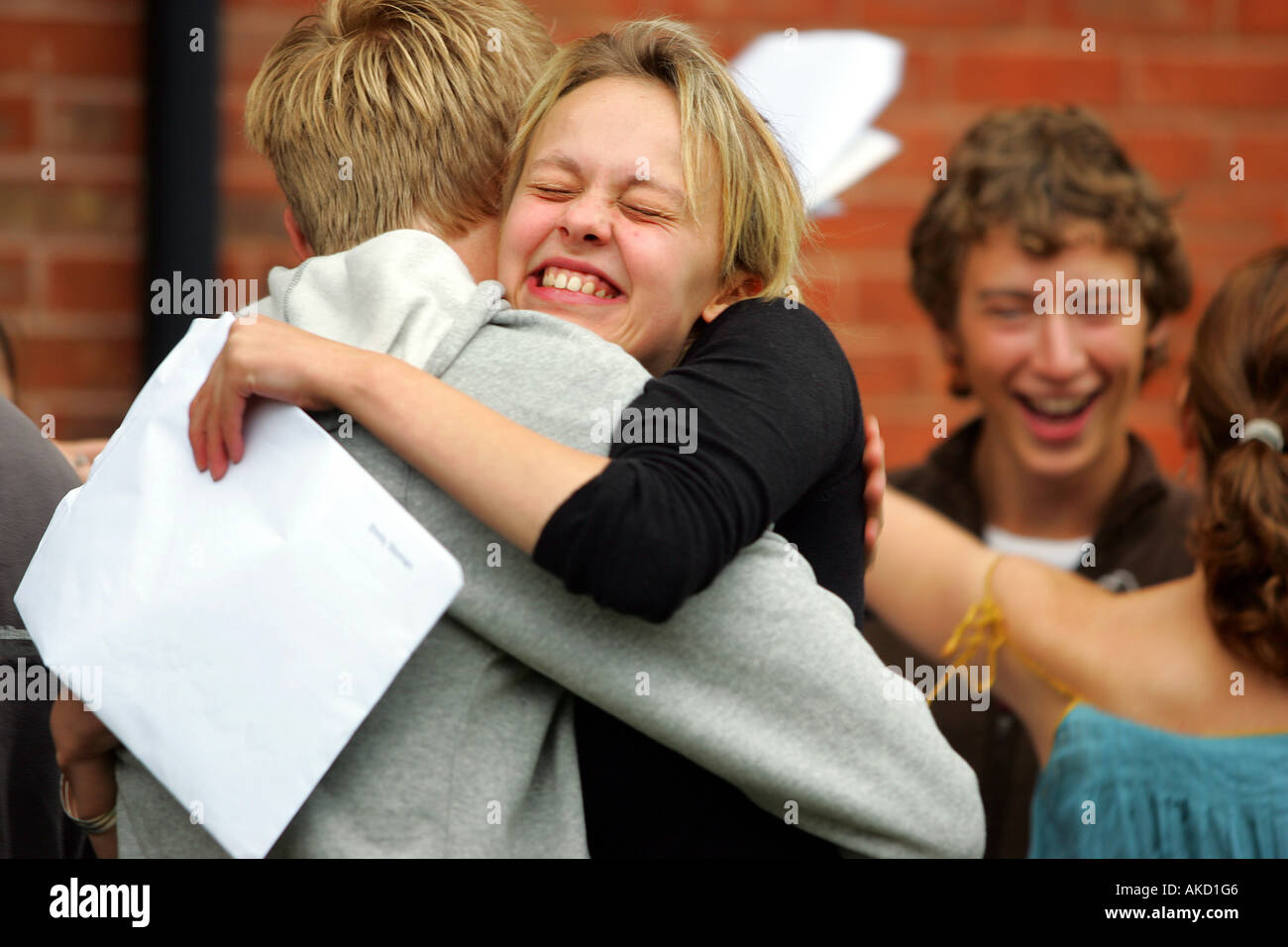 Pupils at Colyton Grammar School in Devon UK receive their A level results - Stock Image