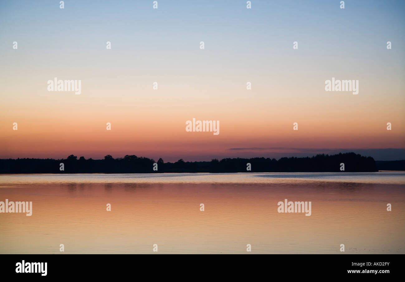 Municky Rybnik lake at sunset Czech republic - Stock Image