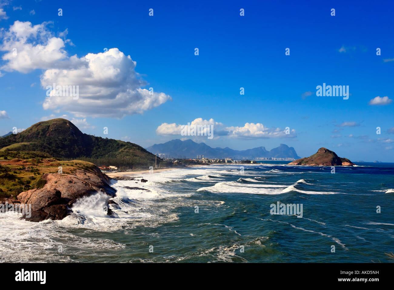 view of prainha beach  in rio de janeiro brazil - Stock Image