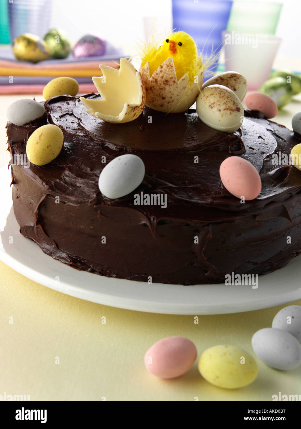 A whole home made chocolate Easter cake kids parties editorial food Stock Photo
