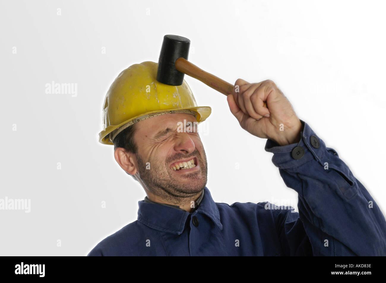 Construction Hammer Anger Symbol Pressure Stock Photos
