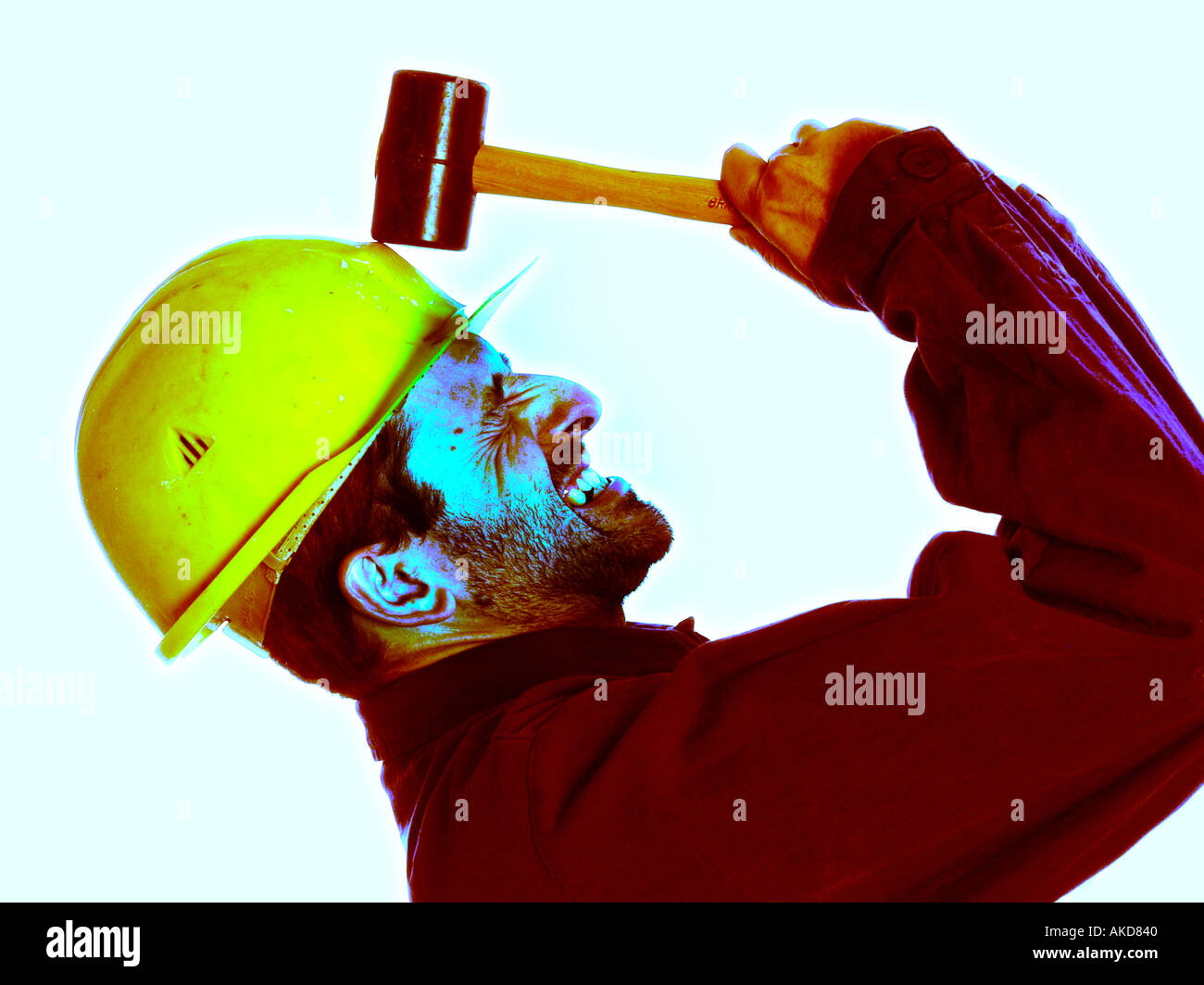 Construction Worker With Hammer Anger Symbol For Pressure Stock