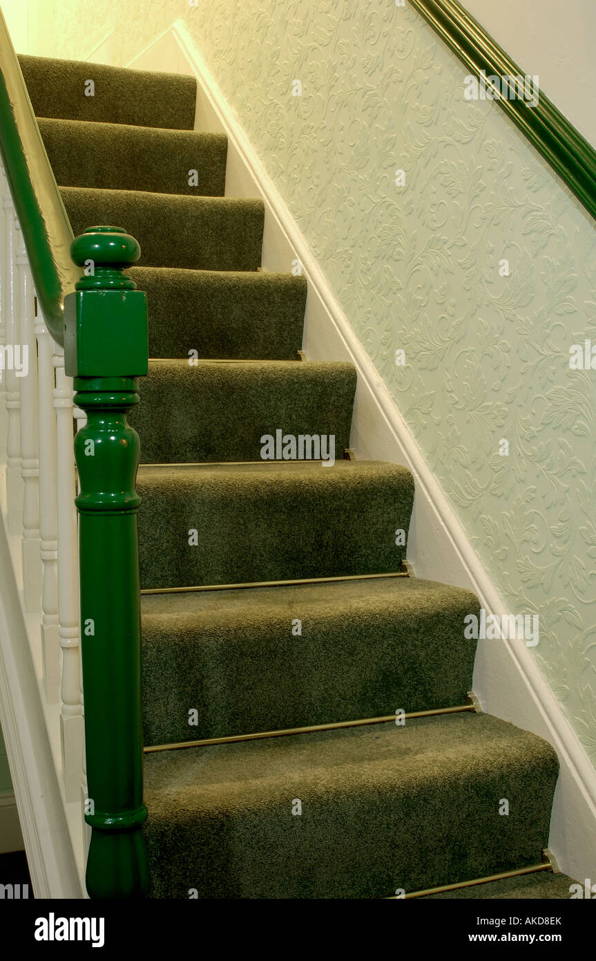 Staircase In A Green Hallway With Dado Rail And Stair Rods   Stock Image
