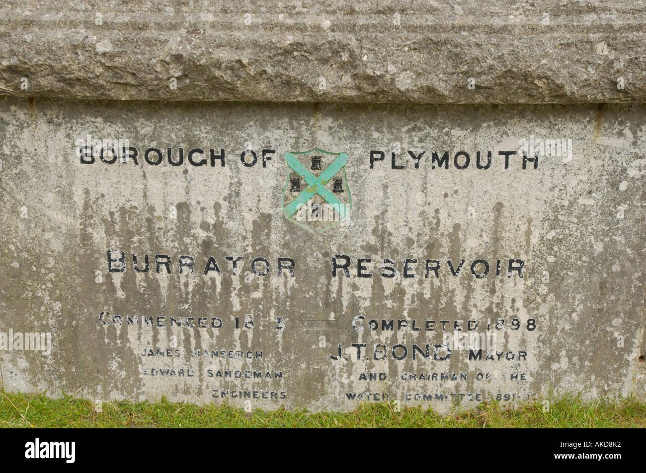 Commemorative plaque at Burrator reservoir on the edge of Dartmoor in Devon UK - Stock Image