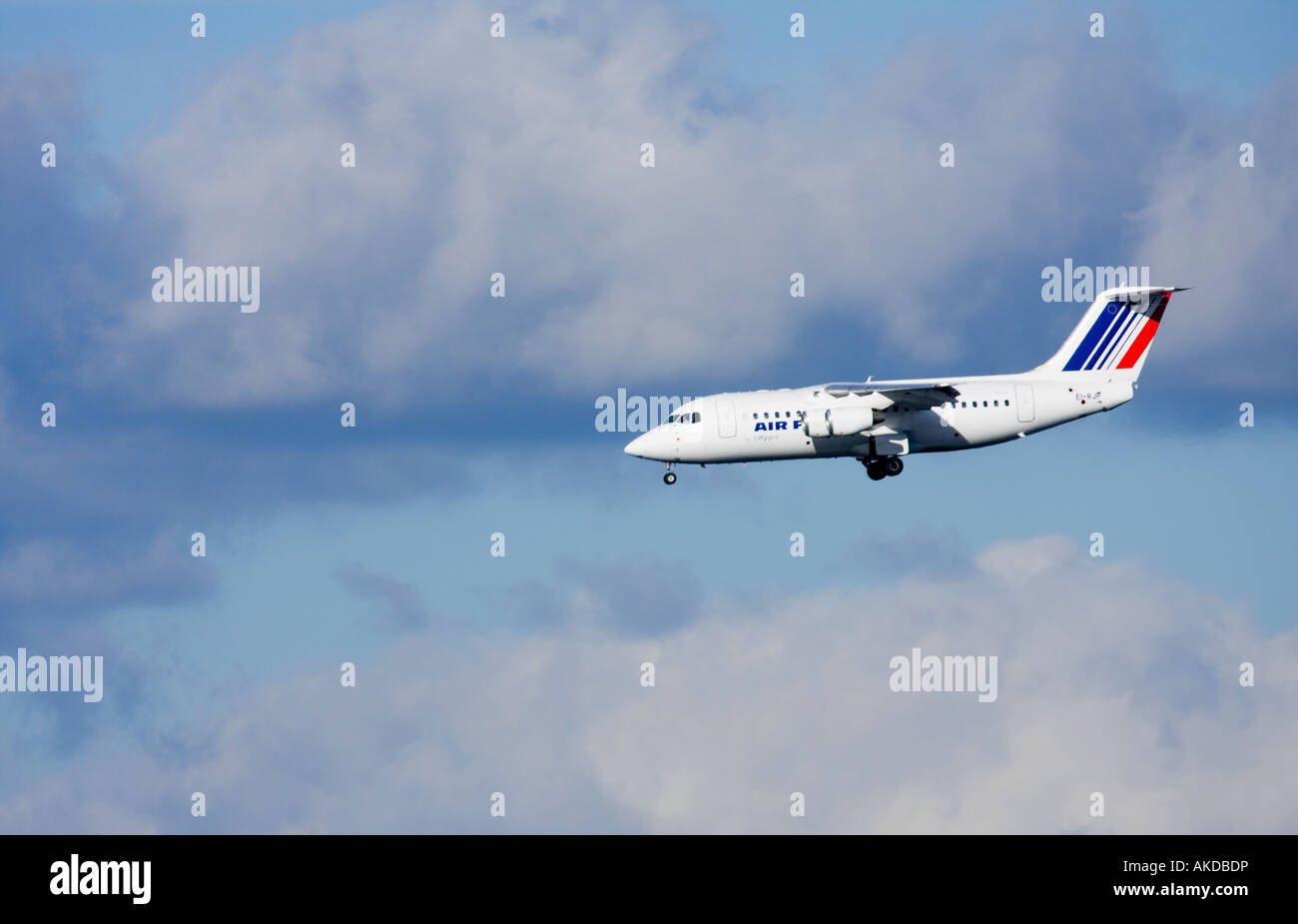 Air France City Jet BAE 146 coming into land at City Airport London - Stock Image