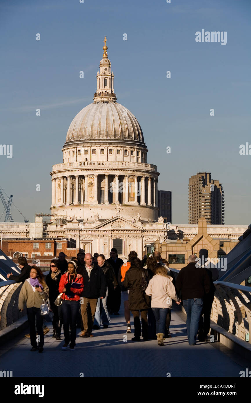 St Paul Cathedral and the millennium footbridge London England UK - Stock Image