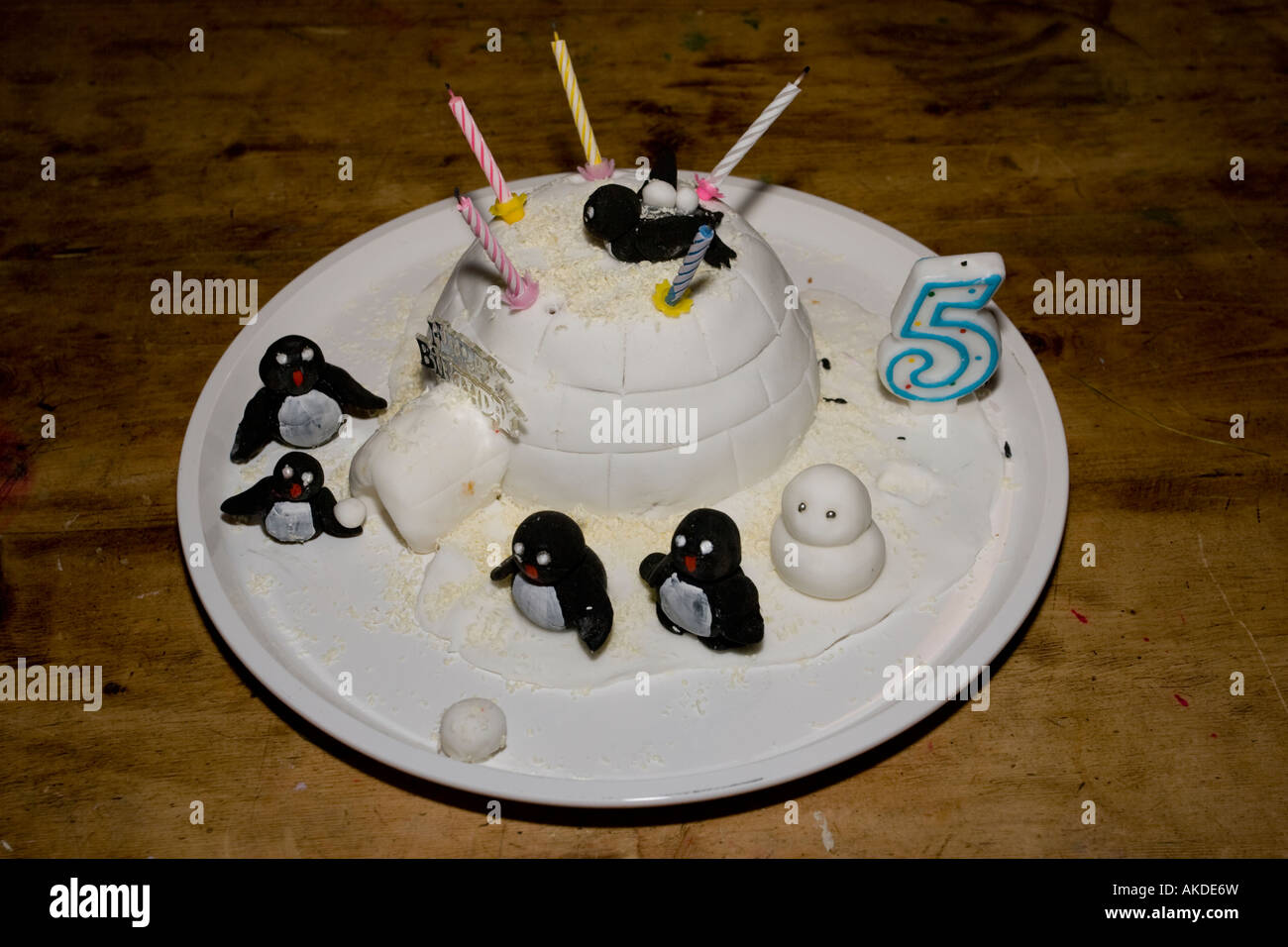 Birthday Cake Penguins Igloo White Icing 5 Five Candles Years UK