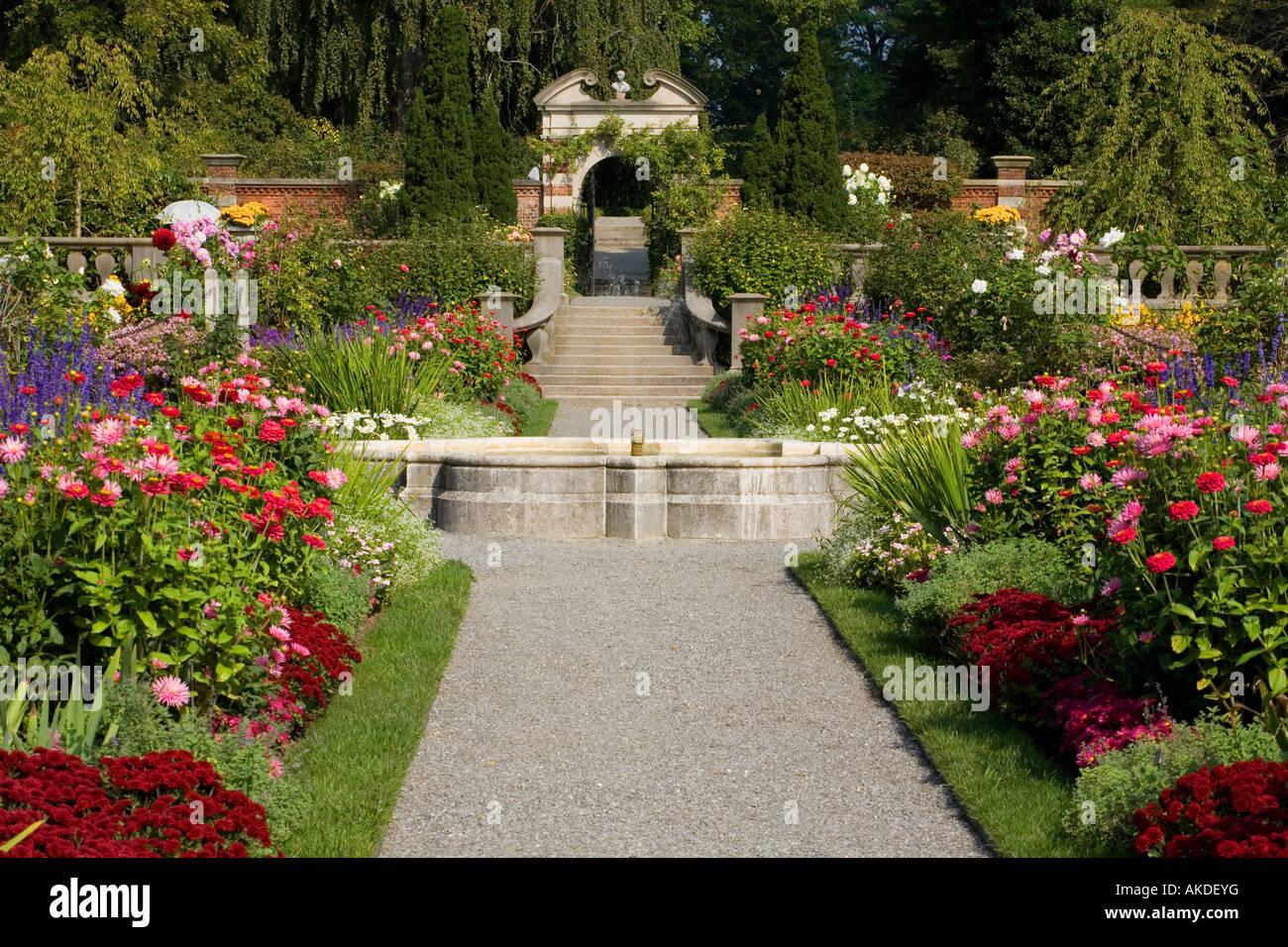 Old Westbury Gardens finest English garden in USA Nassau County Long Island New York - Stock Image