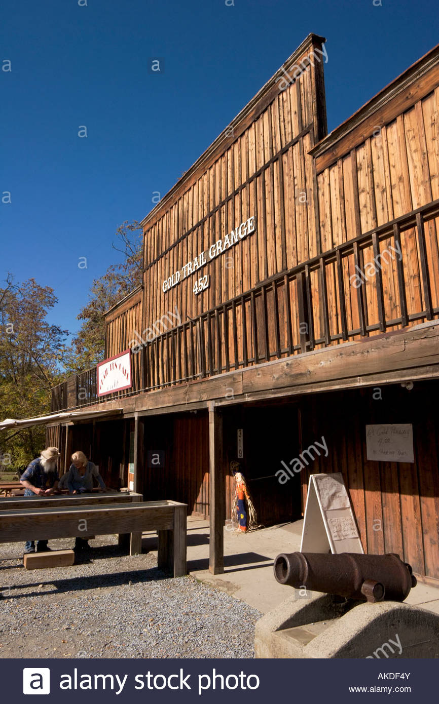 Gold Panning at Marshall Gold Discovery SHP Coloma California - Stock Image