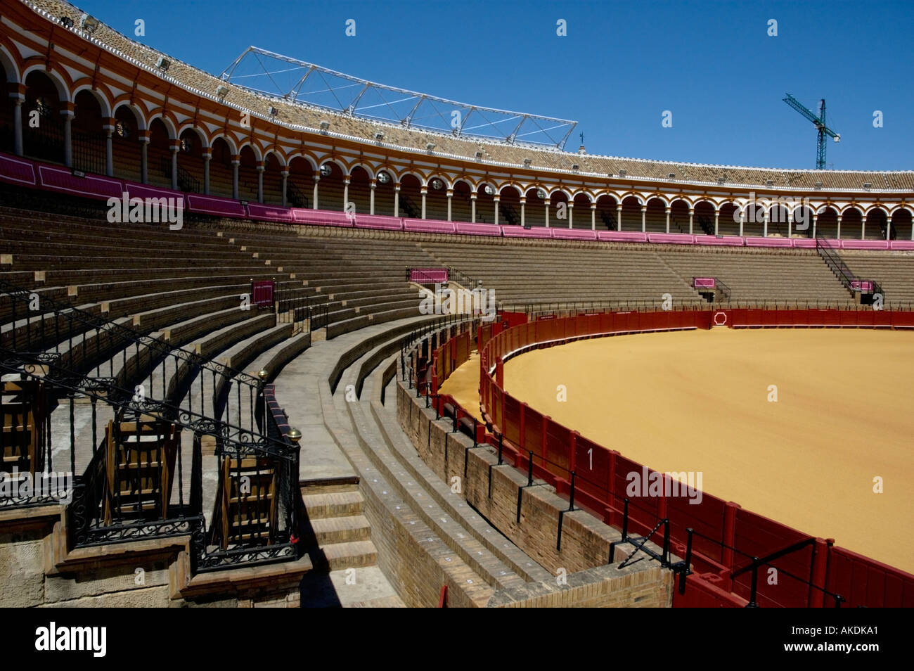 Bullring, Spain - Plaza de Toros de la Real Maestranza de Caballeria de Sevilla, Spain's oldest bullring arena, Seville, Spain - Stock Image