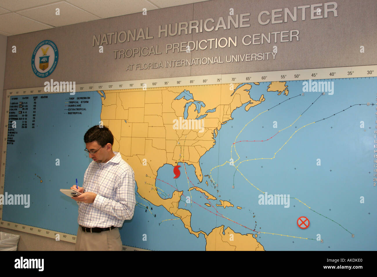 Miami Florida National Hurricane Center Katrina weather forecast White male Associated Press reporter news - Stock Image