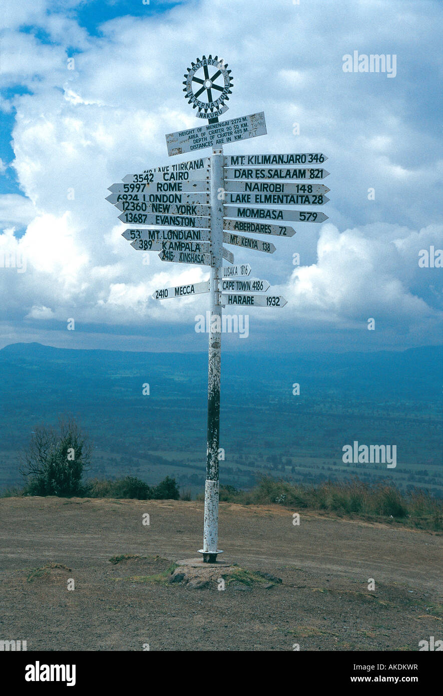 Signpost showing distances to many destinations erected by Rotary International on Menengai Crater Kenya East Africa - Stock Image