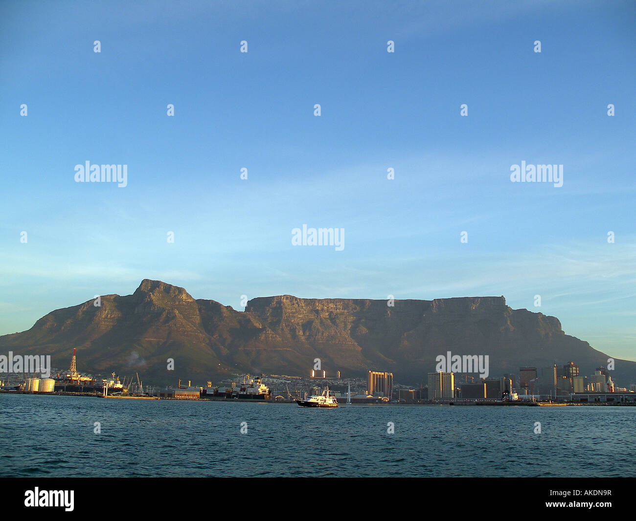 View of Cape Town from Table Bay to the north of the city Table mountain is the in the background Stock Photo