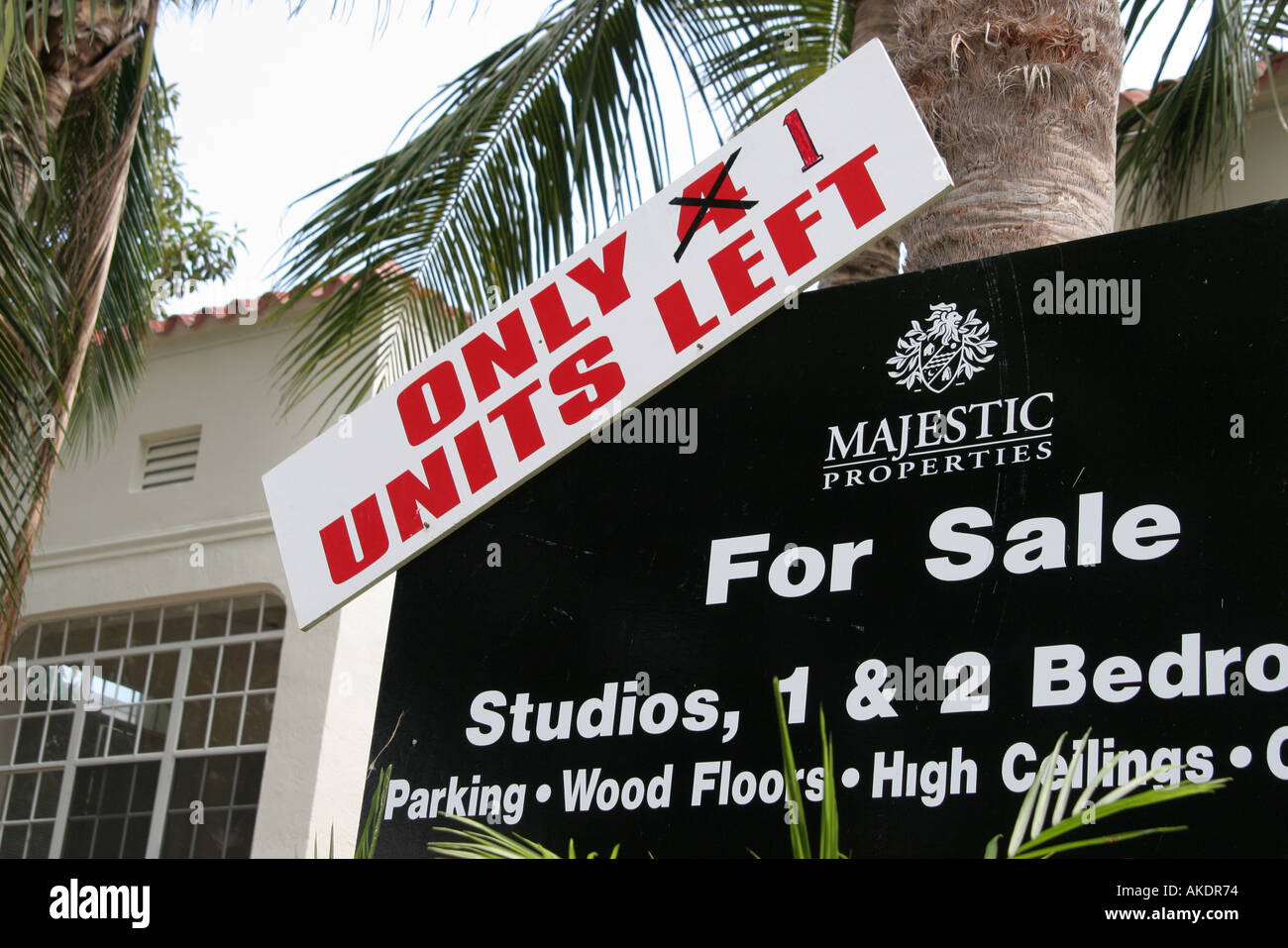 Miami Beach Florida South Beach sign property for sale studio apartments only one left Stock Photo