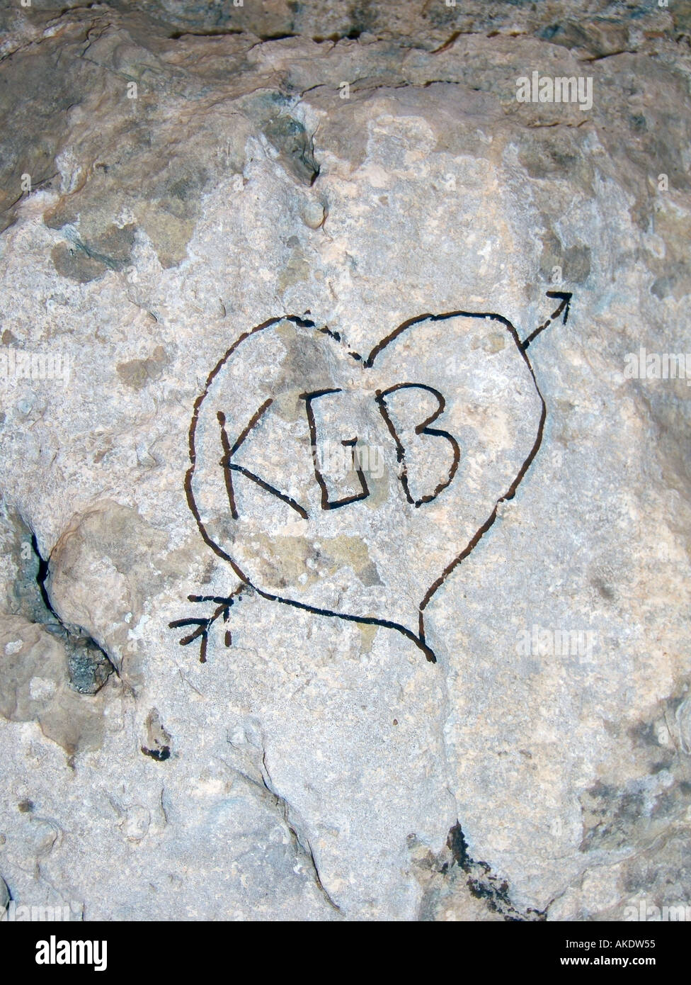 kgb written in a heart with arrow - Stock Image