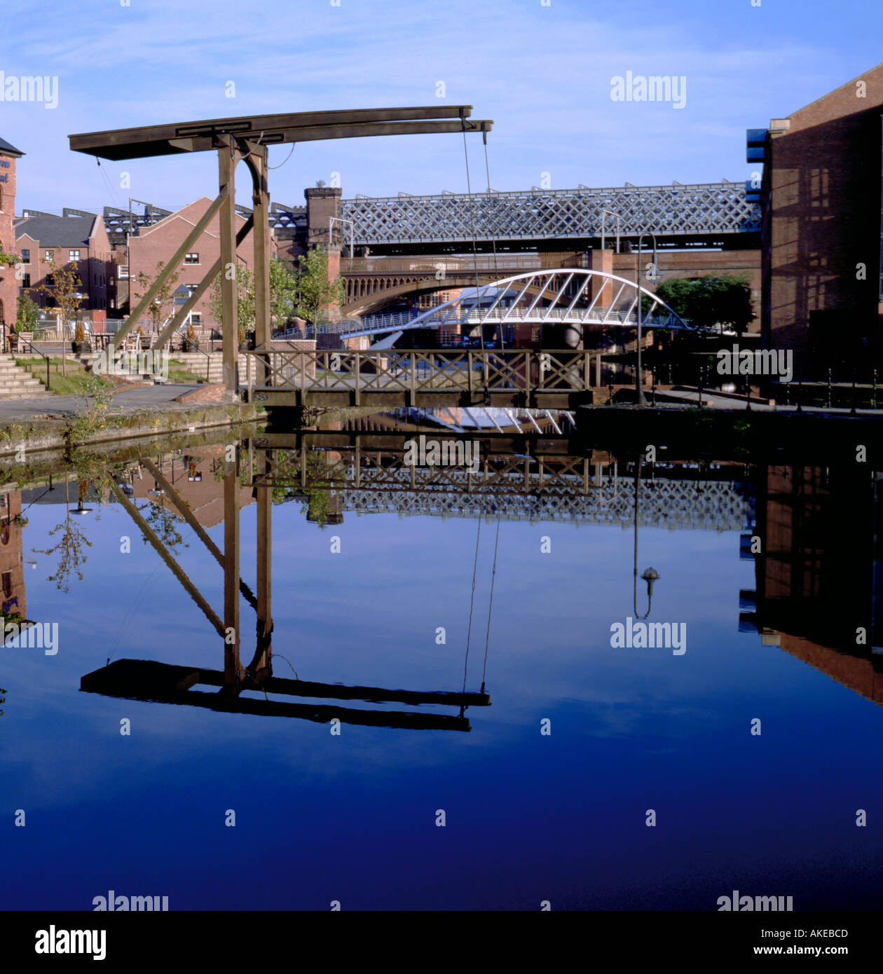 Four different old and new bridge types, Merchants' Quay, Castlefield Urban Heritage Park, Manchester, England, UK. Stock Photo