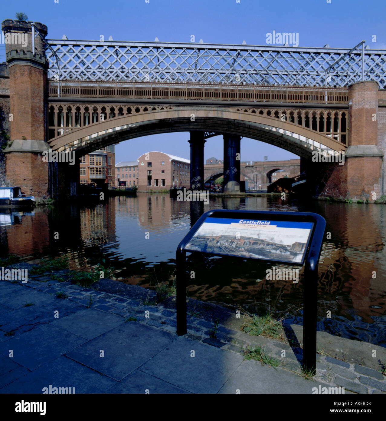 Cast iron arch railway bridge over the Duke of Bridgewater's Canal, Castlefield Urban Heritage Park, Manchester, Stock Photo