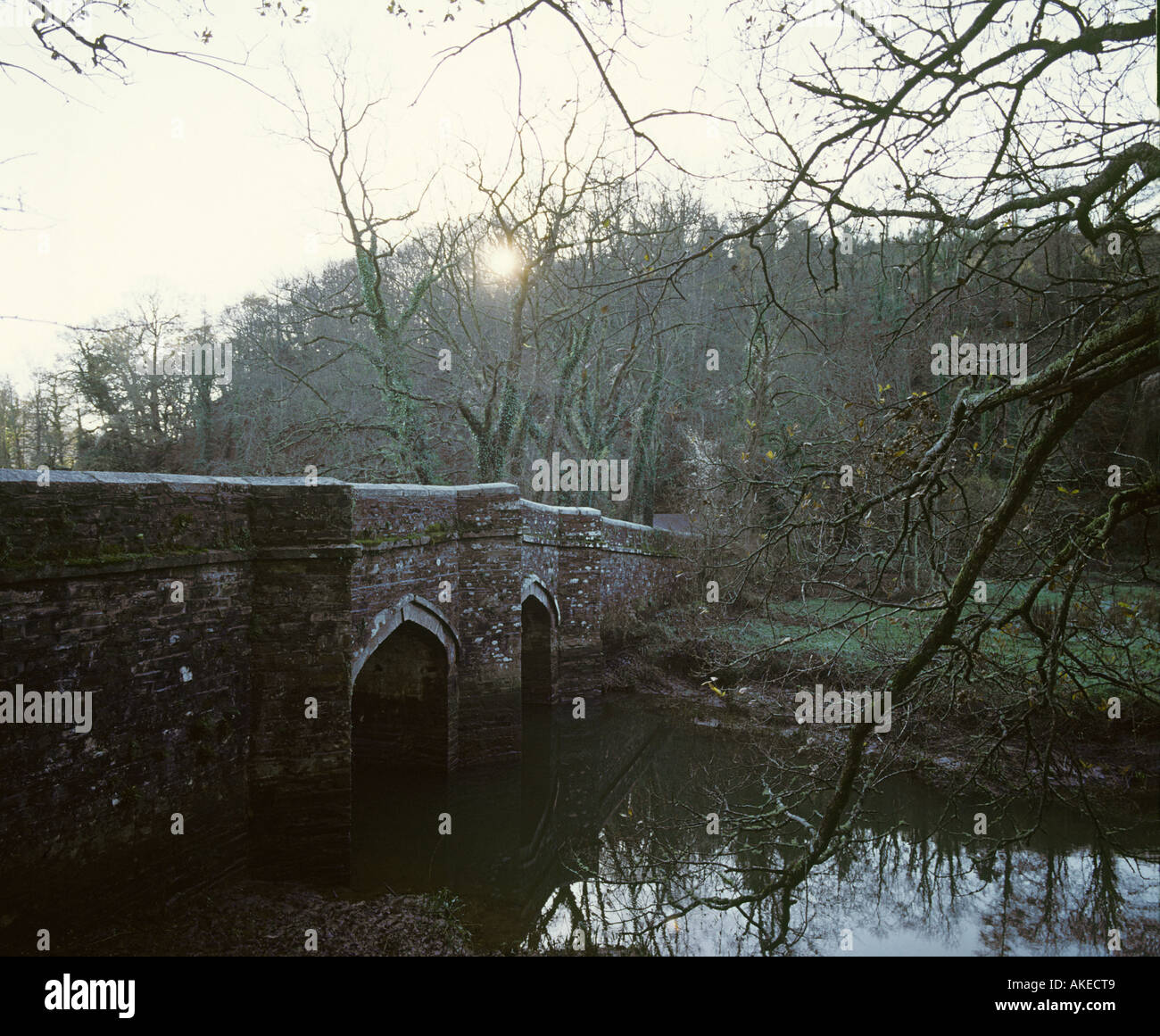 Cotehele Bridge has indelible blood stains reminder of an ancient murder River Tamar Cornwall - Stock Image