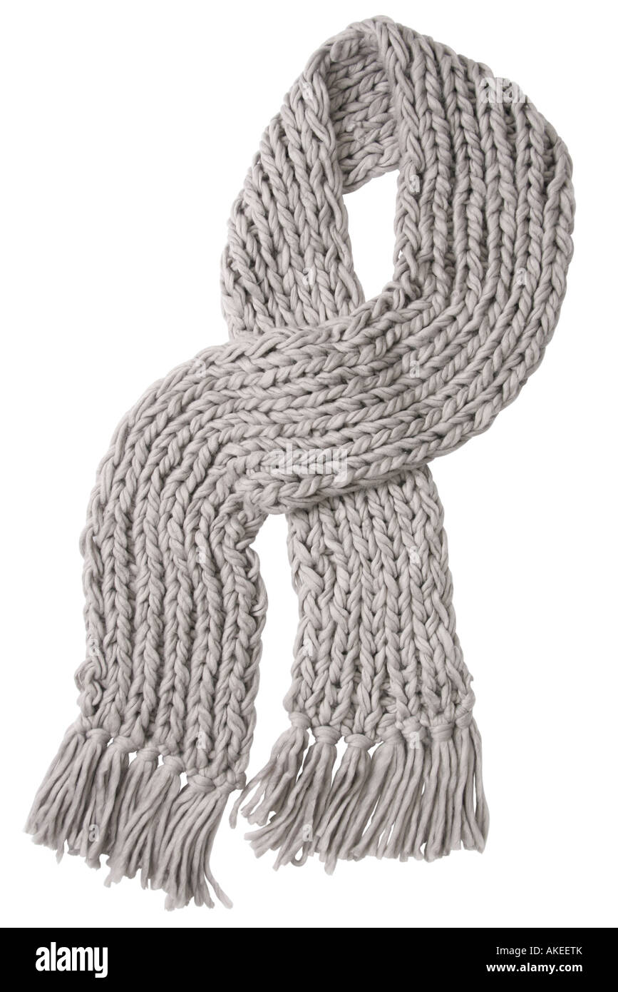 Gray wool scarf isolated on white background - Stock Image