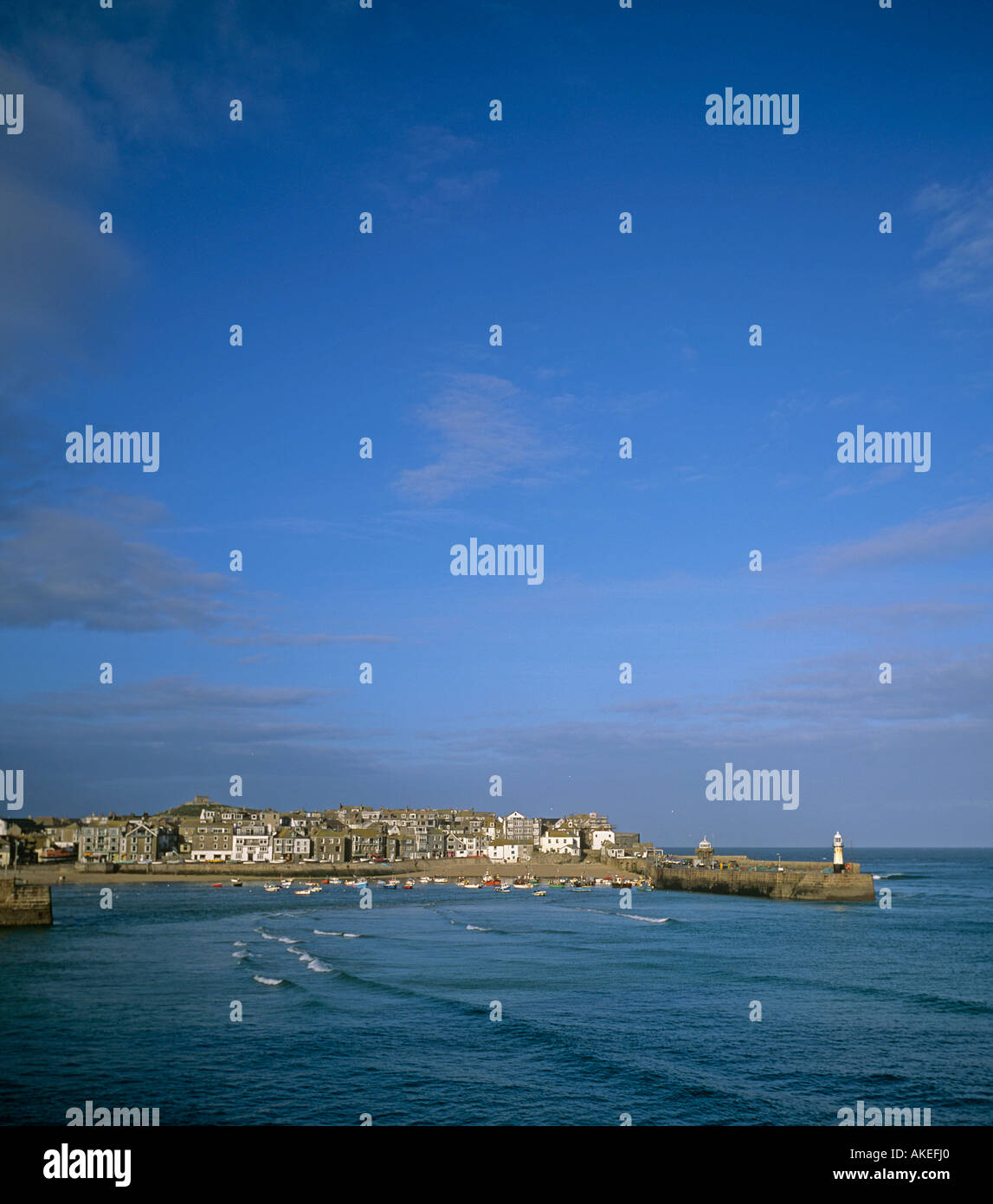 St Ives seafront with fishing boats Cornwall - Stock Image