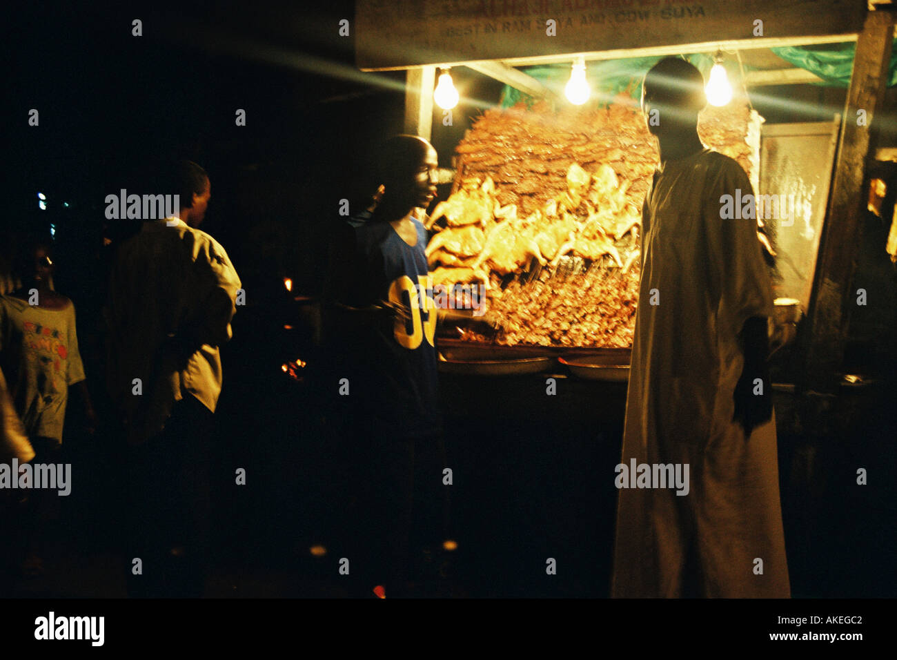A suya (Barbecue) Spot in Obalende Lagos state. Selling food till late into night.t. - Stock Image