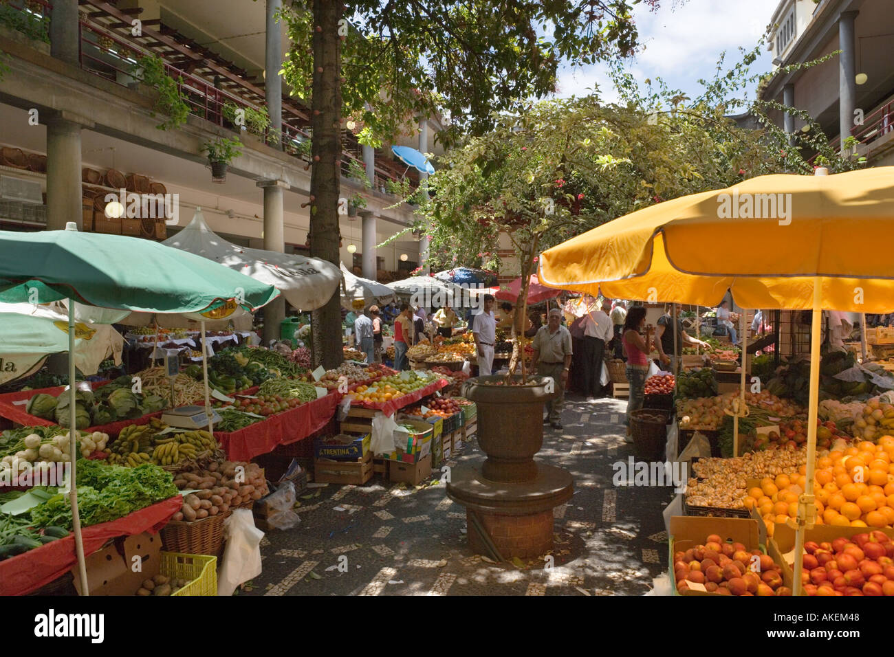 Fresh produce stalls in the Mercado dos Lavradores (Workers Market), Funchal, Madeira, Portugal - Stock Image