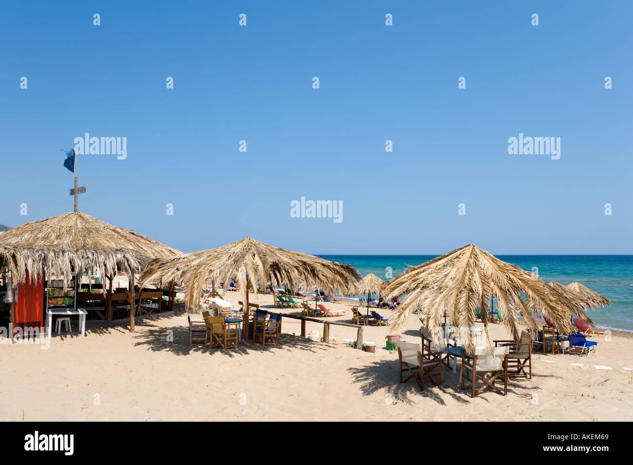 Beachfront Bar, Banana Beach, Vasilikos Peninsula, South East Coast, Zakynthos, Ionian Islands, Greece - Stock Image