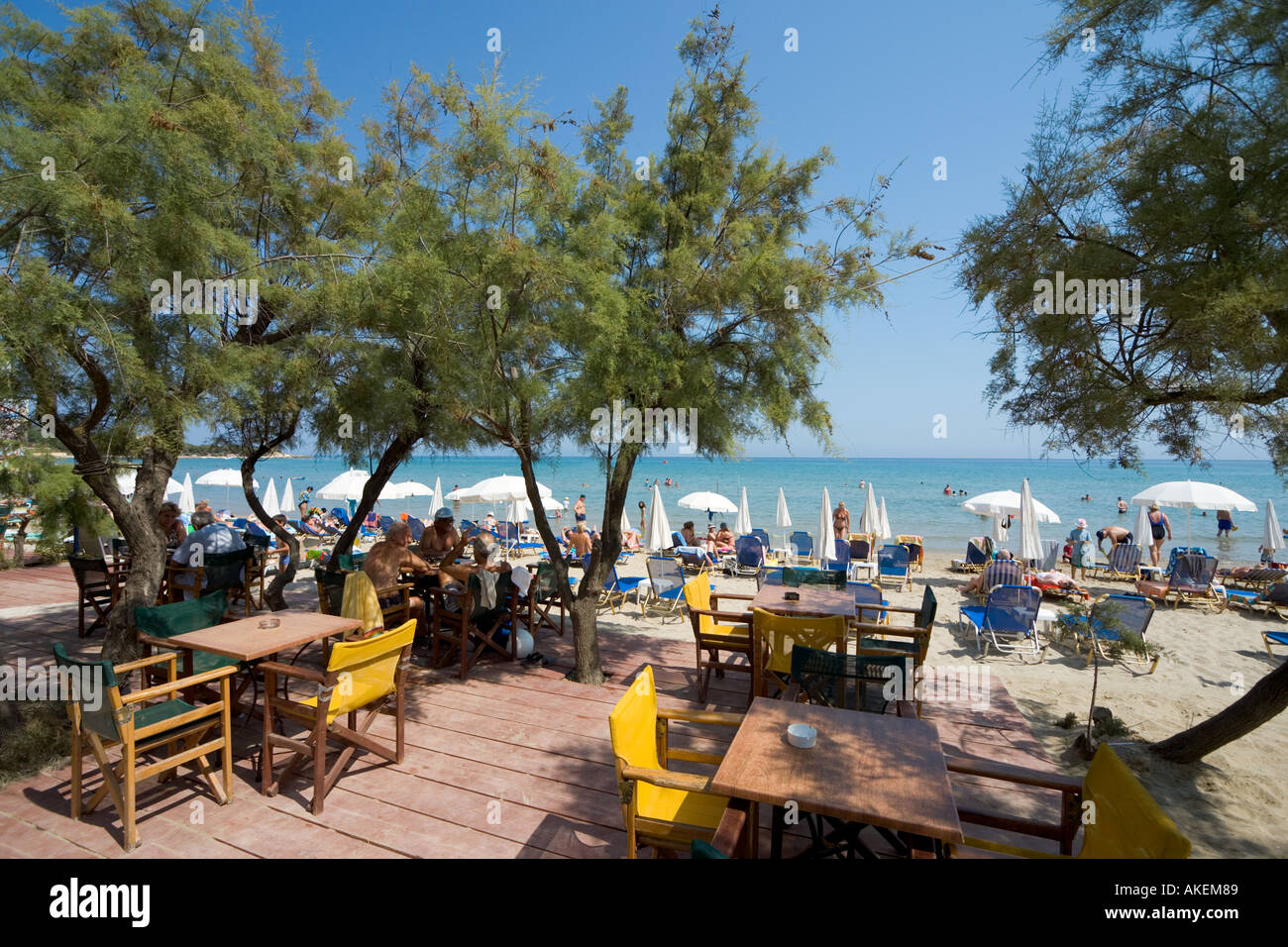 Beachfront Taverna, Tsilivi, Zakynthos, Ionian Islands, Greece - Stock Image