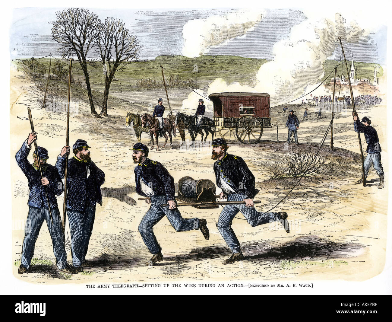 Union Army Signal Corps setting up telegraph wire during a Civil War battle 1863. Hand-colored woodcut - Stock Image