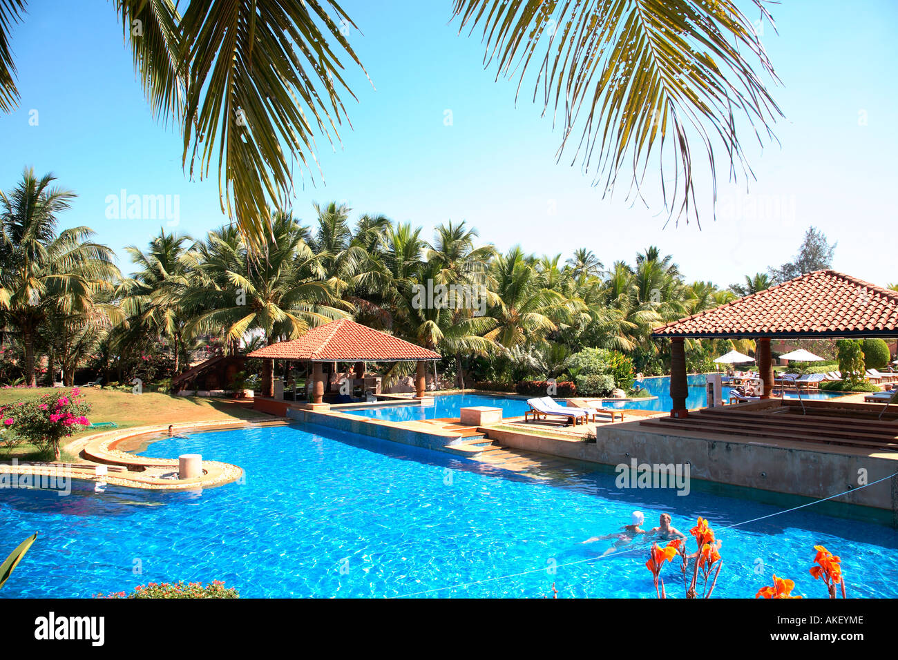 India goa kenilworth hotel swimming pool mood stock photo 8560269 alamy for Resorts in goa with private swimming pool