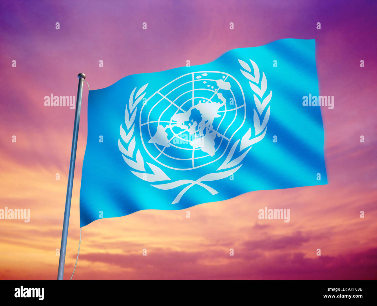 flag of the UNO UN United Nations symbol of peace - Stock Image