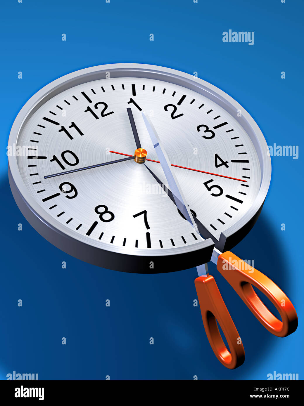 clock split in half by scissors symbol of lack of time deadline appointment punctuality shortage Stock Photo