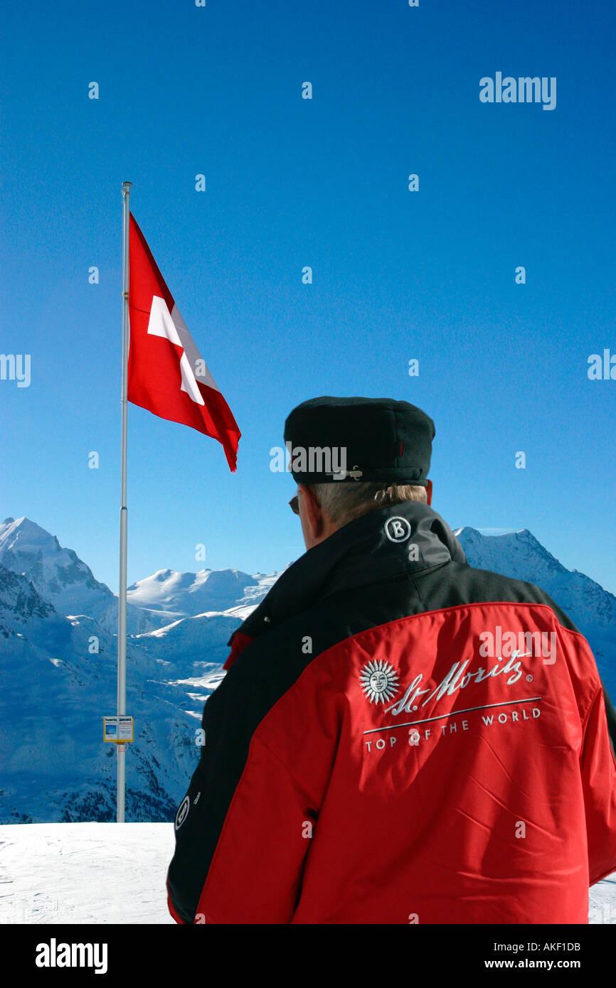 Ski instructor from the exclusive ski resort of St Moritz  Switzerland - Stock Image