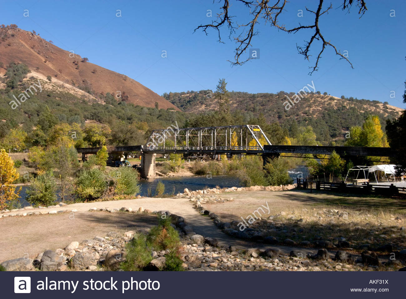 Mt Murphy Road Bridge Over the South Fork of the American River Marshall Gold Discovery SHP Coloma California - Stock Image