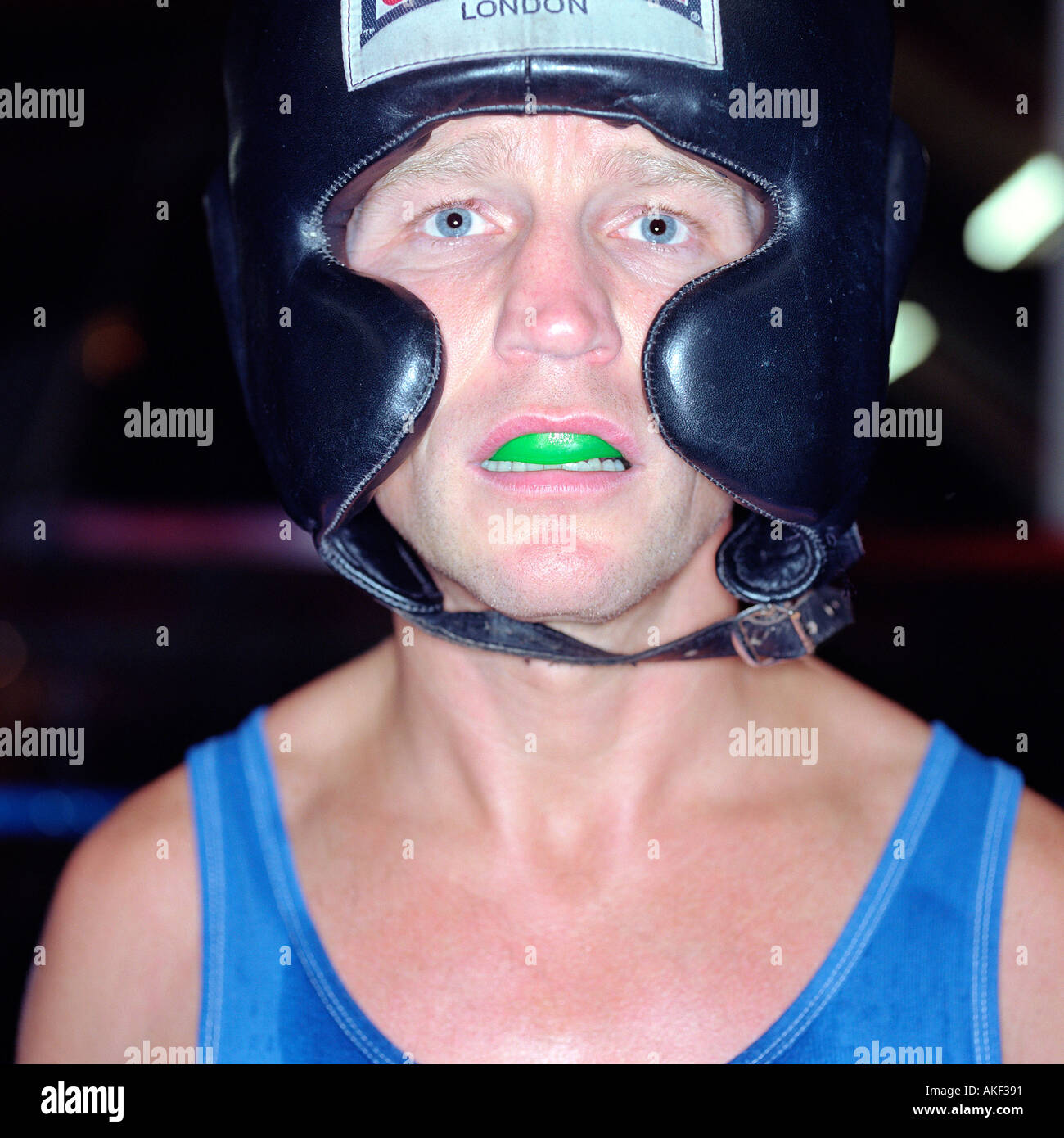 Boxer with gum shield - Stock Image