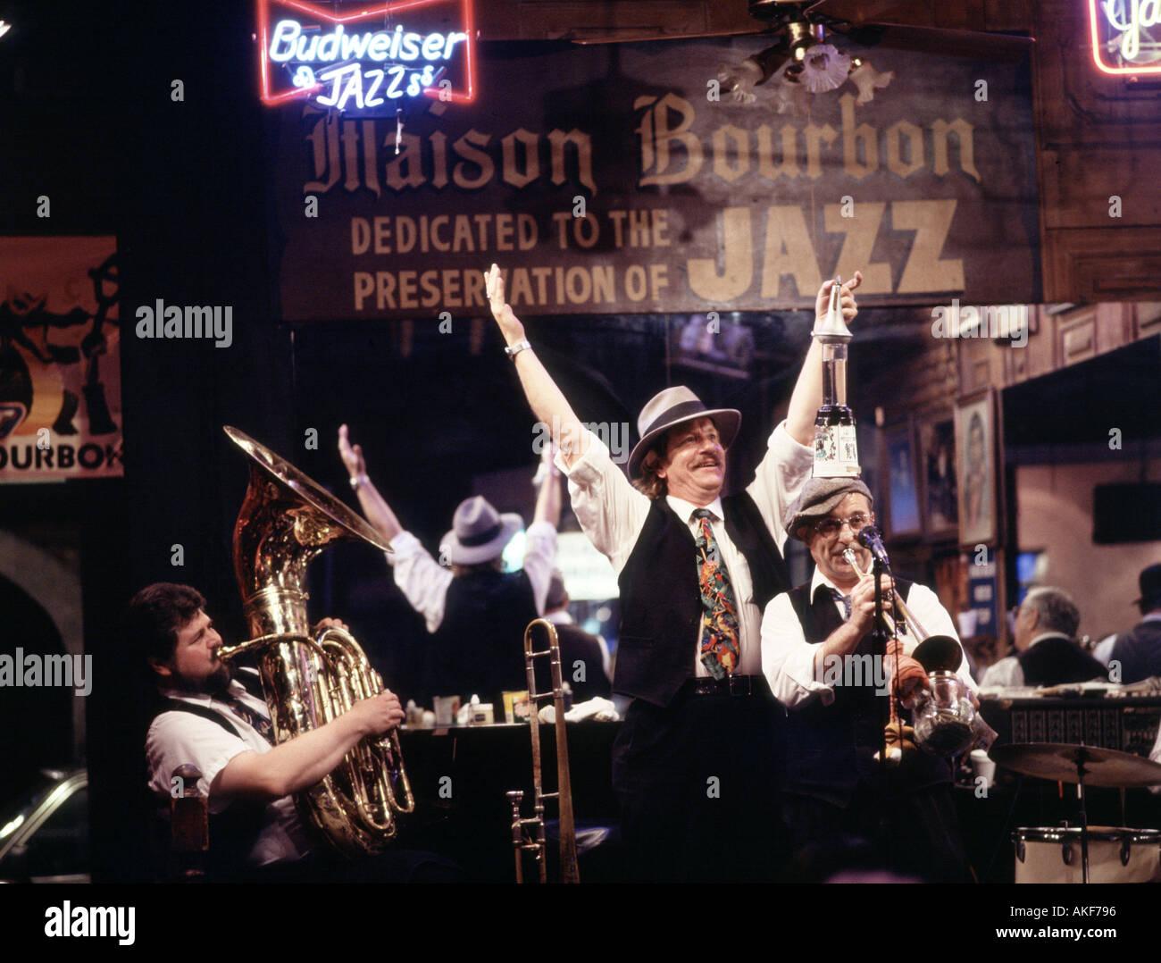 New Orleans Bourbon Jazz Club - Stock Image