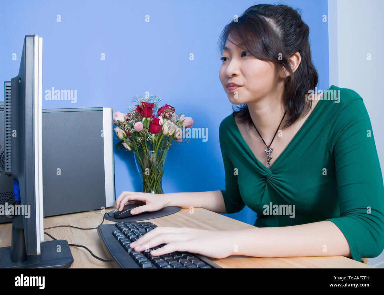 Side profile of a young woman using a computer - Stock Image