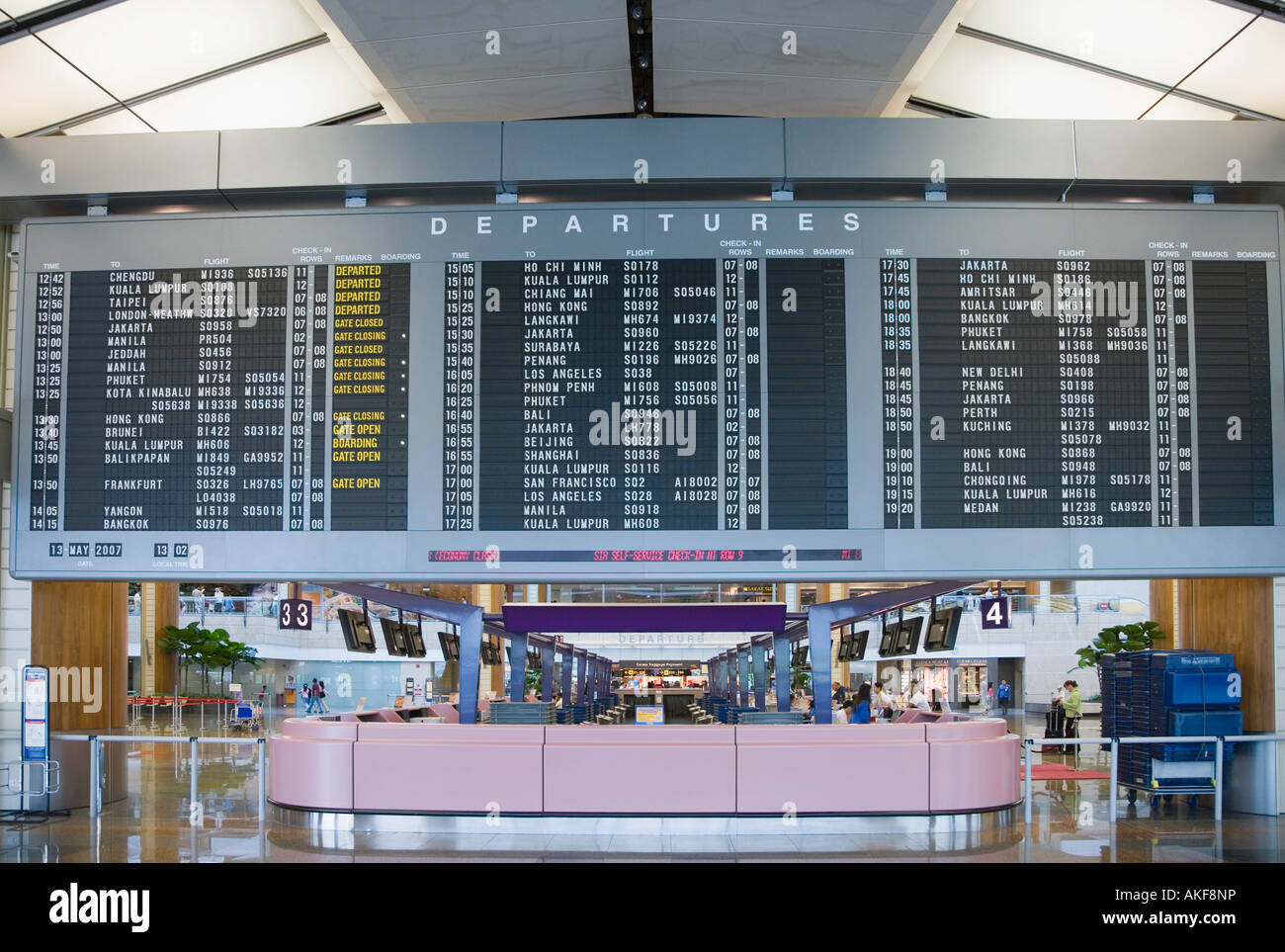 Arrival departure board at an airport - Stock Image