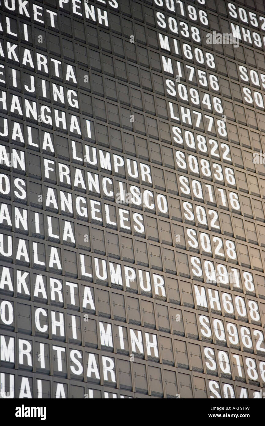 Close-up of an arrival departure board at an airport - Stock Image