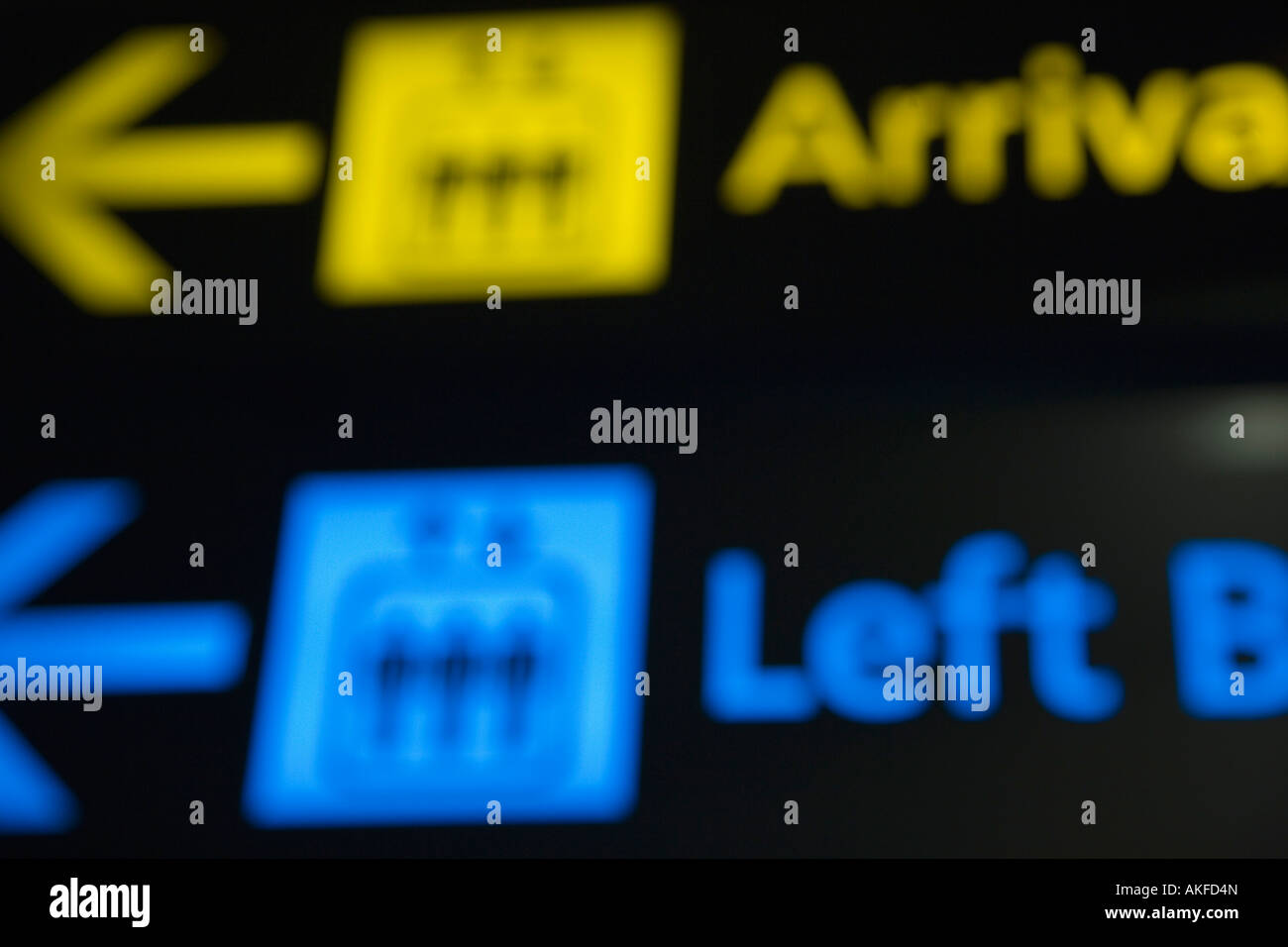 Close-up of information signs at an airport - Stock Image