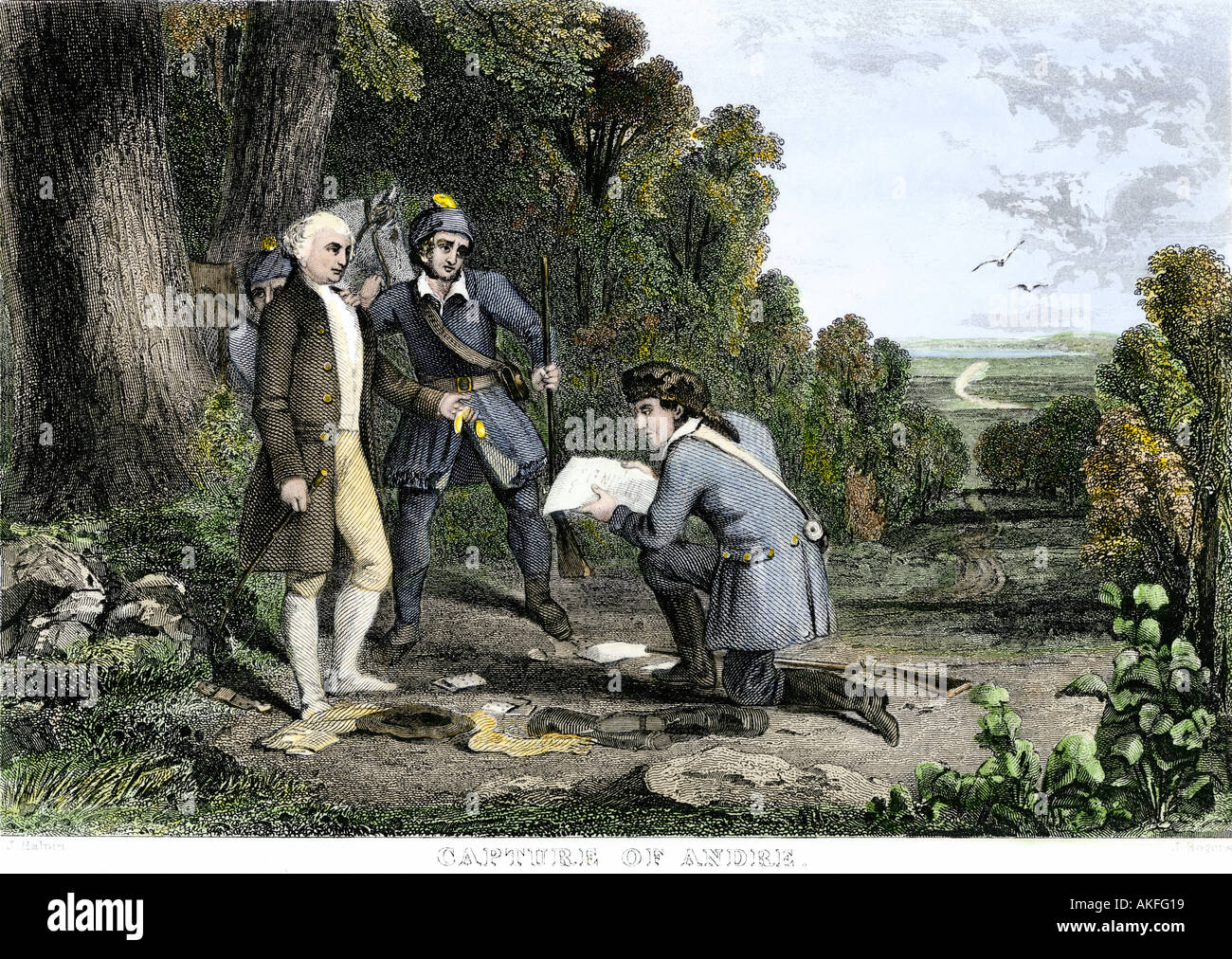 Capture of British spy John Andre and discovery of Benedict Arnold treason plot 1780. Hand-colored engraving Stock Photo