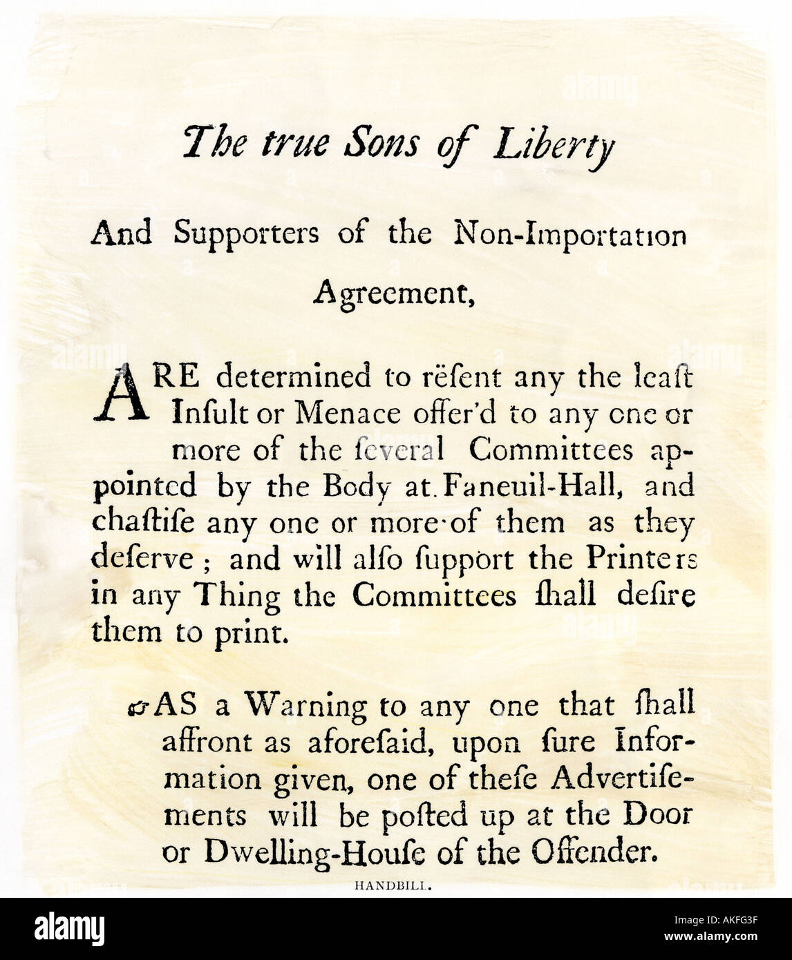 Sons Of Liberty Handbill Supporting A Boycott Of British Goods In