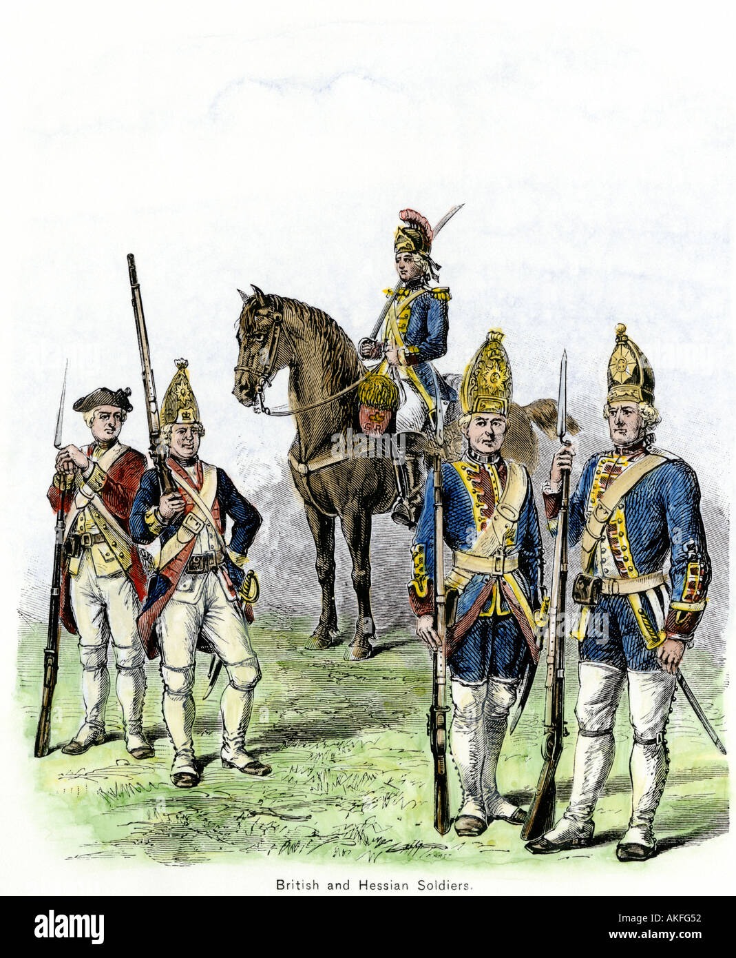 British and Hessian soldiers in the American Revolution. Hand-colored woodcut - Stock Image